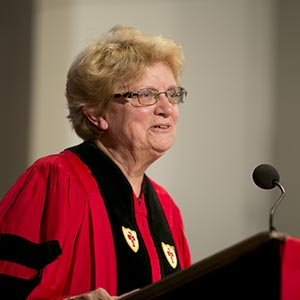 5/18/14 - Boston, Massachusetts  Professor of Biology at the Massachusetts Institute of Technology, Nancy Hopkins gives the Baccalaureate address during the 2014 Baccalaureate service at Marsh Chapel on May 18, 2014.  Photo by Kristyn Ulanday for Boston University Photography