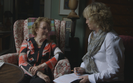 Prof Emeritus barbara Wright speaking to Angie Mezzetti during filming