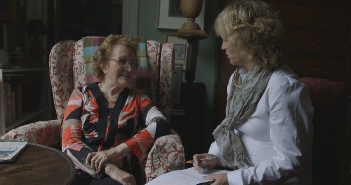 Prof Emeritus barbara Wright speaking to Angie Mezzetti during filming